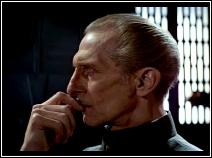 Grand Moff Tarkin contemplating Earth's strategic folly