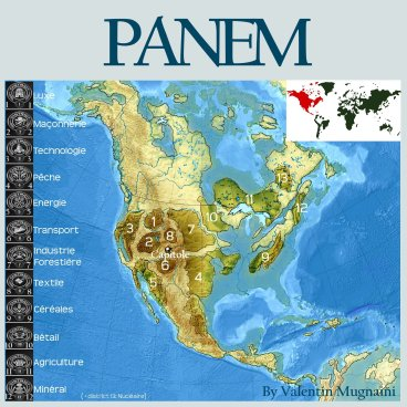 A fan-made map of Panem by Vamg