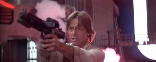 Although Jedi consider blasters to be an uncivilized weapon, Luke (and Leia) are pretty damned good with them