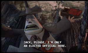 The mayor of Halloween Town addressing his lack of authority
